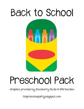 Back to School Preschool Pack
