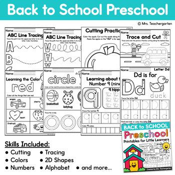 Back to School Preschool Printables
