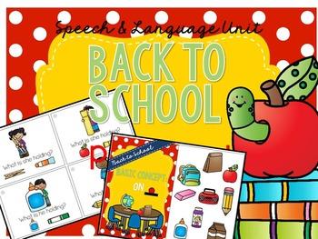 Back to School - Preschool Speech & Language Unit