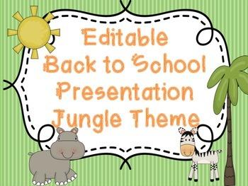 Editable Back to School Presentation - Jungle Themed