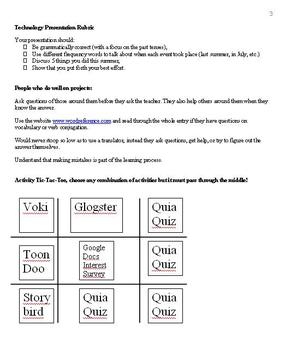 Back to School Presentation and Technology Introductory Unit Packet  (Spanish)