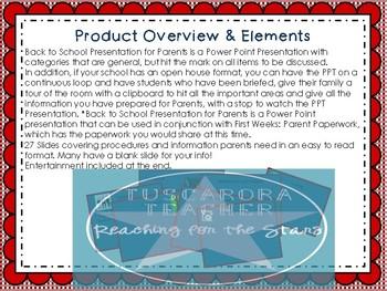 Back to School Presentation for Parents