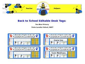 Back to School Editable Desk Tags: Primary (Sea Blue)