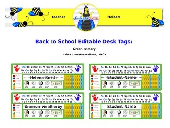 Back to School Editable Desk Tags: Primary (Green)