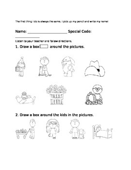 Back to School Primary Following Directions practice