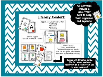 Back to School Primary Unit - School Supply Themed Literacy&Numeracy Centers
