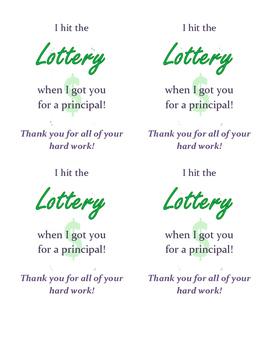 Back to School Principal Appreciation/Thank You Note