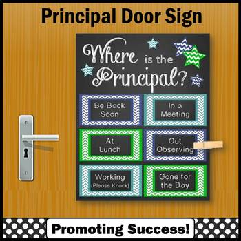 Back to School Principal Gift, Where is the Principal Door Sign Blue Green Teal