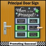 Green Blues Where is the Principal Sign, Office Door Poster, NOT EDITABLE
