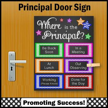 Back to School Principal Gift, Where is the Principal Door Sign Colorful