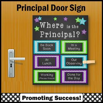 Back to School Principal Gift Where is the Principal Door Sign Purple Teal Green