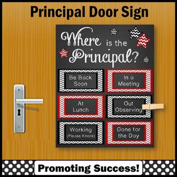 Back to School Principal Gift Where is the Principal Door Sign RED and BLACK