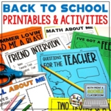Back to School Activities All About Me & First Day of School Print & Digital