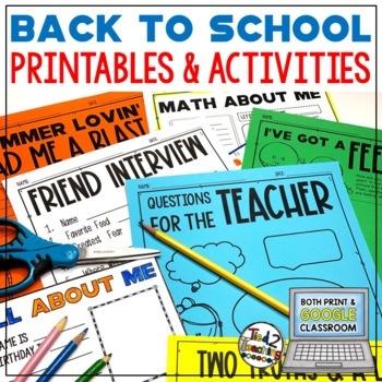 Back to School Print & Go Activities