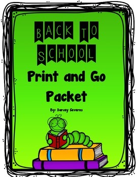 Back to School Print and Go Packet