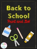 Back to School Print and Go! for Pre-K and Kindergarten