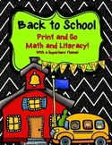 Back to School Print and Go Math and Literacy with Superhero Theme