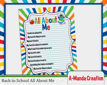 Back to School Printable All about Me Fill in Sheet