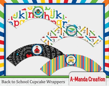 Back to School Printable Cupcake Wrappers