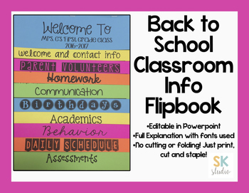 Back to School Printable Flip Book [EDITABLE]