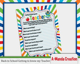 Back to School Printable Get to Know Your Teacher Fill in Sheet