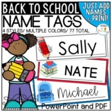 Back to School Printable Name Tags | Customizable PowerPoint