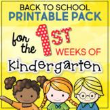Back to School Activities for the First Weeks of Kindergarten