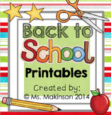 September Printables - Kindergarten Literacy and Math