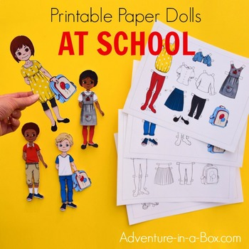 Back to School Printable Paper Dolls and Colouring Pages