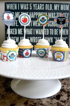 Back to School Printable Party Circles, tags cupcake toppers