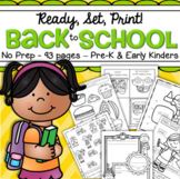 Back to School Worksheets NO PREP Preschool, Early Kindergarten - 93 Printables