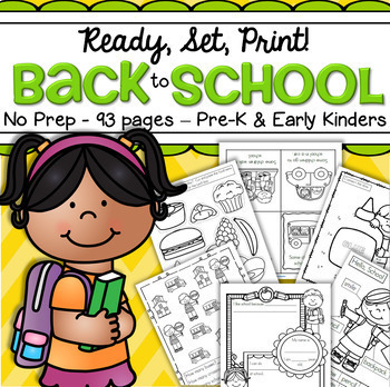 Back to School Worksheets NO PREP Preschool, Early Kindergarten - 93 Printables