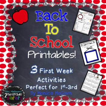 Back to School Printables! 3 First Week Activities