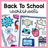 Back to School Activities (First Day/Week Worksheets)!
