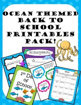Back to School Printables Pack Ocean Theme