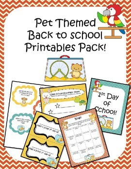Back to School Printables Pack Pet Theme