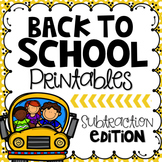 Back to School Printables {Subtraction Edition}