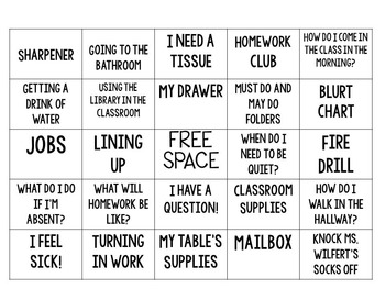 Back to School Procedure BINGO!