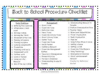 Back to School Procedure Checklist
