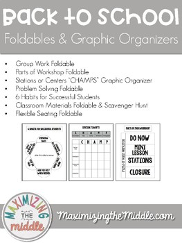 Back to School Procedures Foldables & Graphic Organizers for Math Workshop