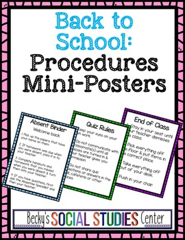 Back to School: Procedures Mini-Posters - Classroom Management