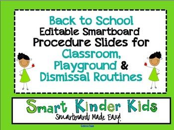 Back to School Editable Smartboard Procedure Slides