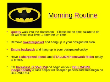 Back to School Procedures-Superhero Theme