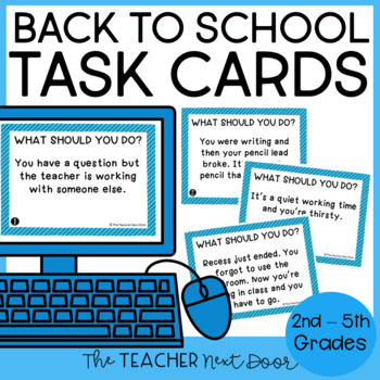 Back to School Procedures Task Cards for 2nd - 6th Grade
