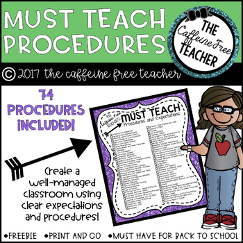 Classroom Procedures and Expectations Checklist for Back to School