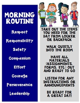 Back to School Procedures for Morning Routines
