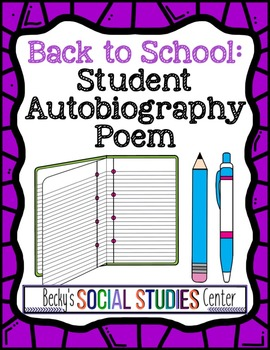 Back to School Project for Middle School: Autobiography Poem