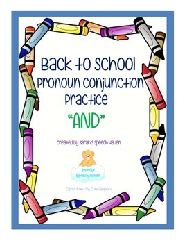 """FREEBIE Back to School: Interactive Pronoun Conjunction Practice """"AND"""""""