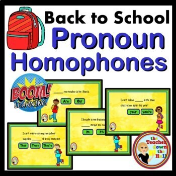 Back to School Pronoun Homophones - 24 Self-checking BOOM Cards!