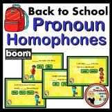 Back to School Pronoun Homophones BOOM Cards! (24 Cards)